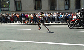 The top male runner, Lemi Berhanu Hayle, finished with a time of 2:12:45—a pace of 5:04 minutes per mile. Photo: Siobhan Kenneally