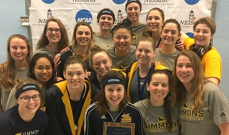 Swimming and diving places second at New England Championships