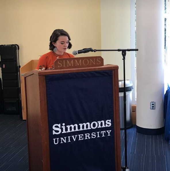 Delaney Gagnon '21 gives her speech during the Founder's Day celebrations in Common Grounds.