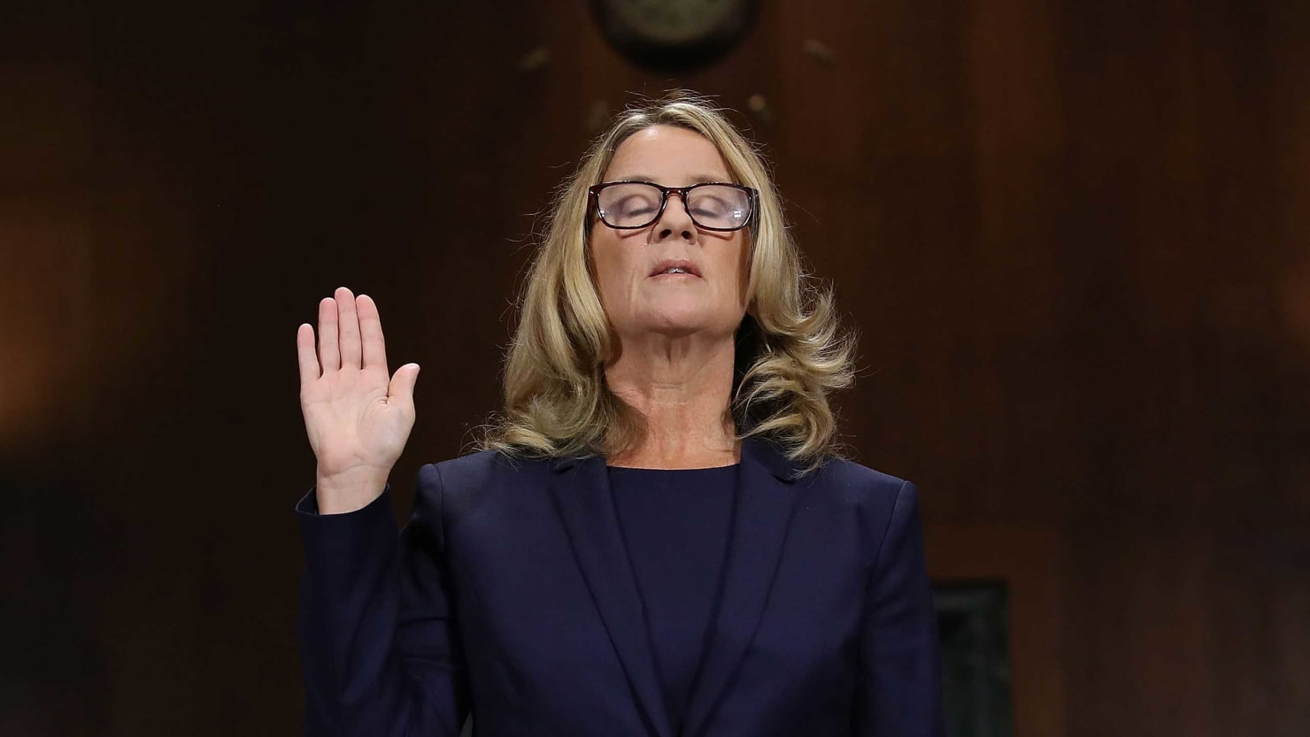 Dr. Christine Blasey Ford being sworn in during the Kavanaugh hearings.
