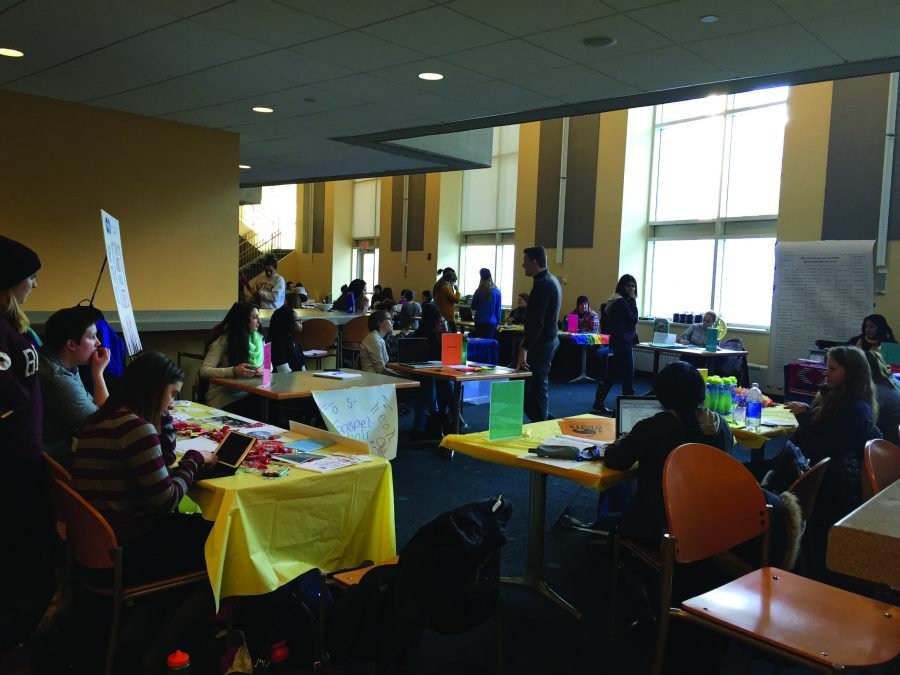 photo of students looking for clubs to join