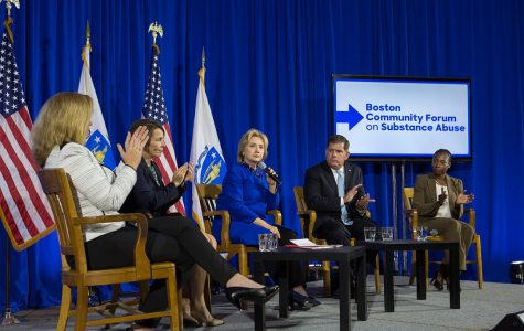 Clinton talks with Boston voters: Attends substance abuse forum with Walsh