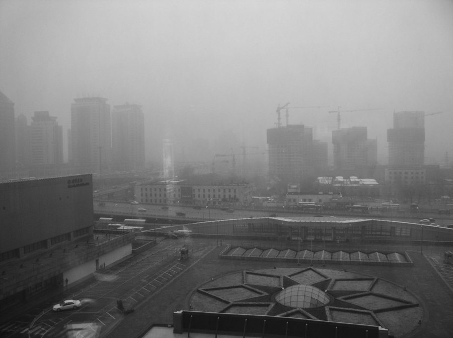The Beijing cityscape shaded by smog