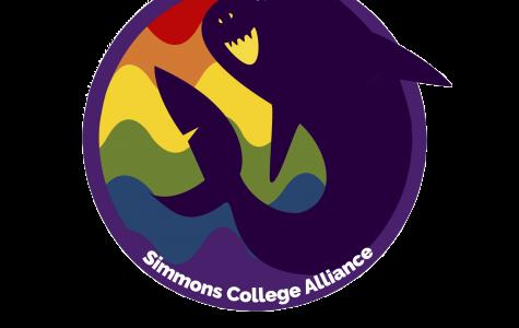 A rainbow logo for Simmons Alliance, overlaid with a smiling purple shark