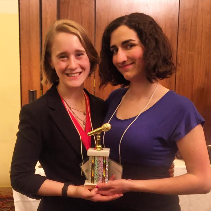 Jennifer Ives an Lisa Nault pose with their award