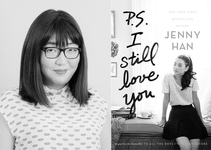 Author Jenny Han opposite the cover of