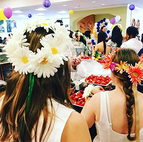 Bartol filled with strawberries, balloons, students in flower crowns