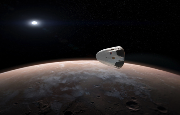 Artists depiction of the Mars horizon with SpaceX above
