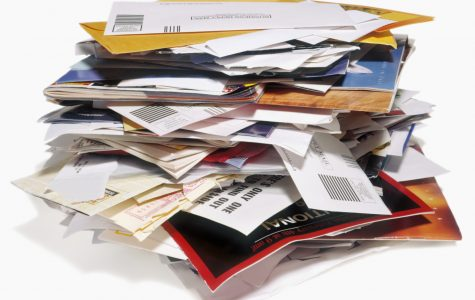 Pile of unwanted bills and junk mail to recycle