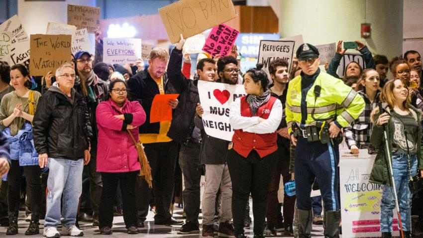 01/28/2017  BOSTON, MA     A large crowd protested the recent immigration bans at Boston Logan Airport's Terminal E for international arrivals.   (Aram Boghosian for The Boston Globe)