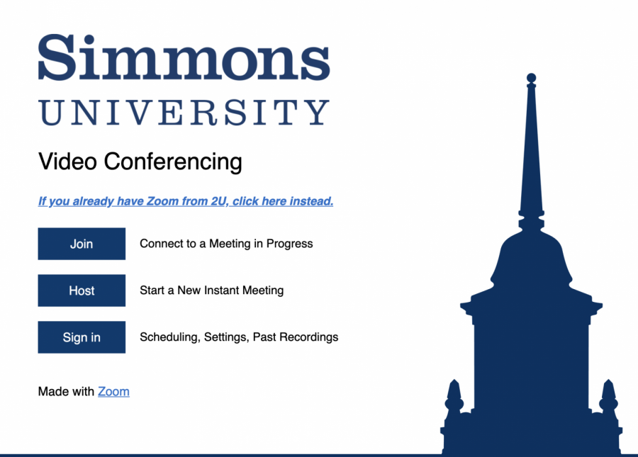 Simmons University's official Zoom page.