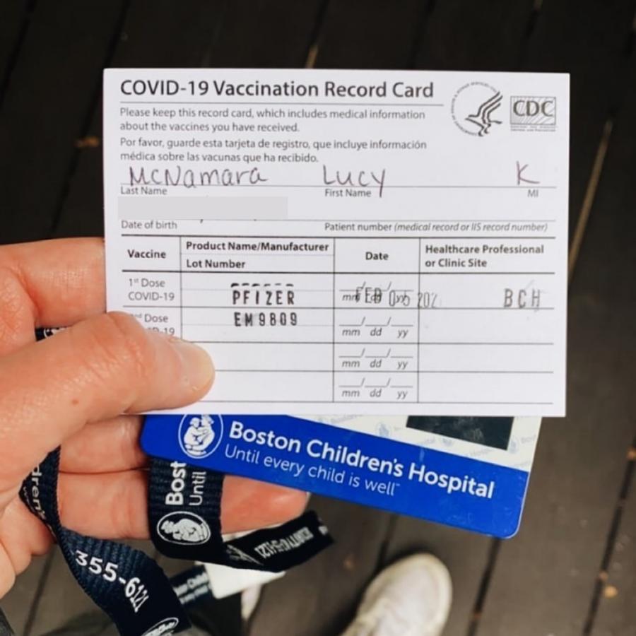 Senior Lucy McNamara's COVID Vaccine Record Card. Image courtesy of Lucy McNamara.