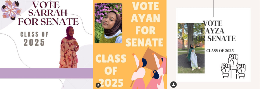 Screenshots from the @hijabisforsenate campaign instagram account. From left to right, campaign posts for Sarrah Naittalb, Ayan Mohamud, and Fayza Beshir.