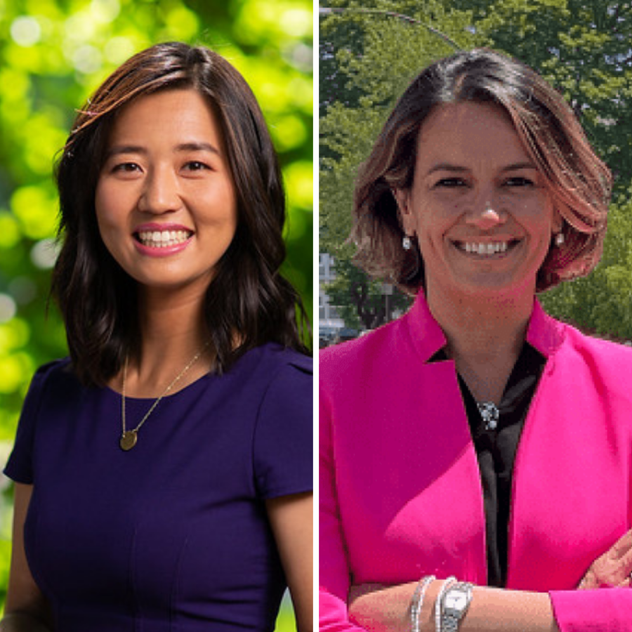 Michelle Wu (left) and Annissa Essaibi George (right), candidates for Boston Mayor.